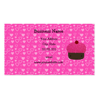 Pink glitter cupcake pink hearts Double-Sided standard business cards (Pack of 100)