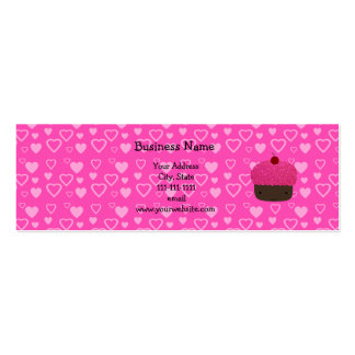 Pink glitter cupcake pink hearts business cards