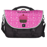 Pink glitter cupcake pink hearts commuter bag