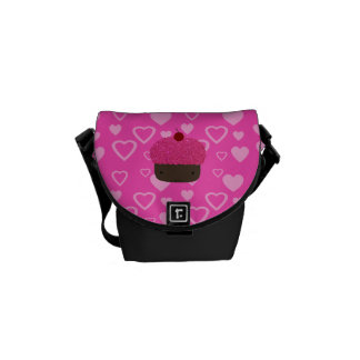 Pink glitter cupcake pink hearts courier bag