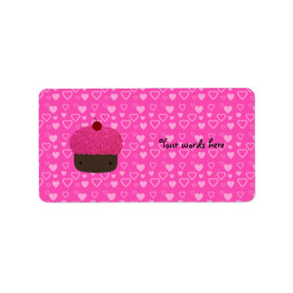Pink glitter cupcake pink hearts label