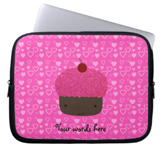 Pink glitter cupcake pink hearts laptop sleeve