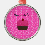 Pink glitter cupcake pink hearts christmas tree ornaments