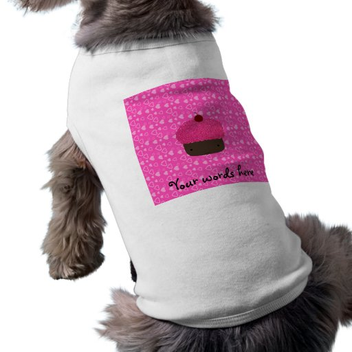 Pink glitter cupcake pink hearts pet clothing