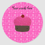 Pink glitter cupcake pink hearts round stickers