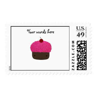 Pink glitter cupcake postage