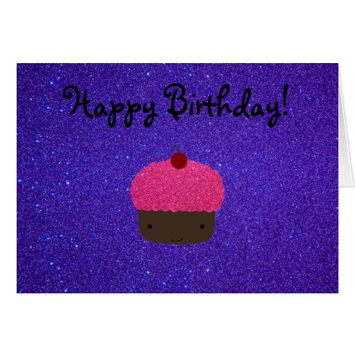 Pink glitter cupcake purple glitter greeting card
