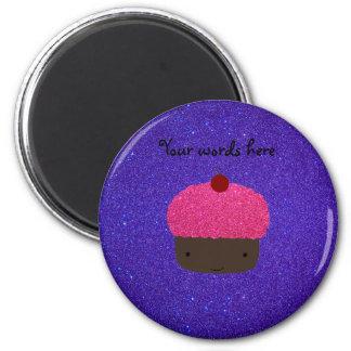 Pink glitter cupcake purple glitter fridge magnet