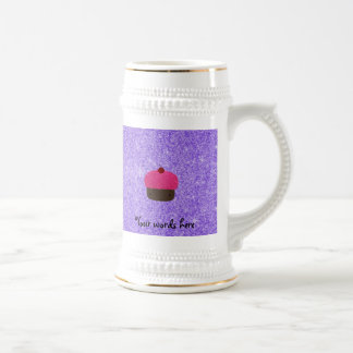 Pink glitter cupcake purple glitter 18 oz beer stein