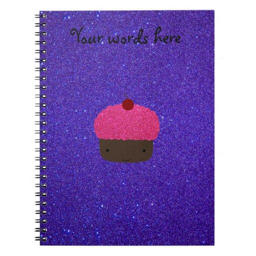 Pink glitter cupcake purple glitter note book