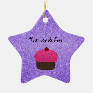 Pink glitter cupcake purple glitter christmas ornaments