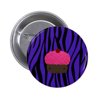 Pink glitter cupcake purple zebra stripes buttons