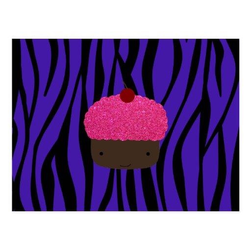 Pink glitter cupcake purple zebra stripes postcard