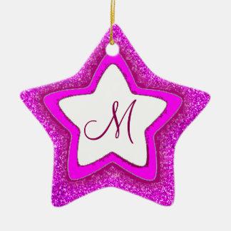 Pink glitter customizable monogram star ornament