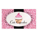 Pink Glitter Cute Cupcake Bakery Business Cards