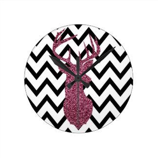 Pink Glitter Deer Chevron Round Clocks