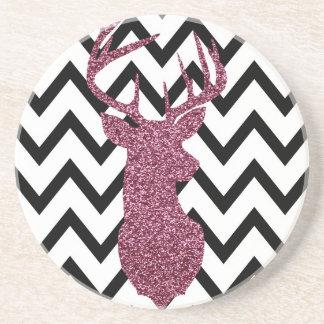 Pink Glitter Deer Chevron Coaster