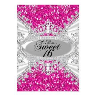 Pink Glitter & Diamond Tiara Sweet 16 Invite