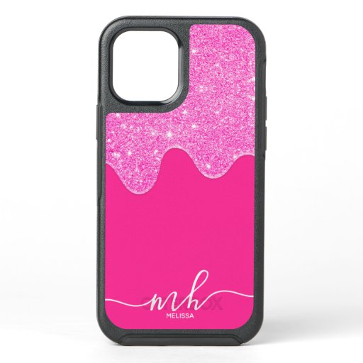 Pink glitter drips neon pink girly chic monogram OtterBox symmetry iPhone 12 case