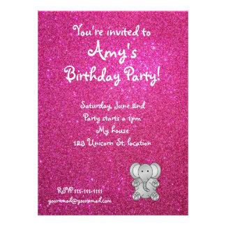 Pink glitter elephant birthday invitations