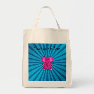 Pink glitter elephant blue sunburst tote bag