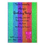 "Pink glitter elephant rainbow glitter 4.5"" x 6.25"" invitation card"