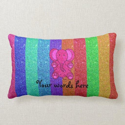 Pink glitter elephant rainbow glitter pillow