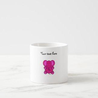 Pink glitter elephant 6 oz ceramic espresso cup