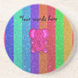 Pink glitter elephant with rainbow stripes drink coasters