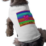 Pink glitter elephant with rainbow stripes dog t shirt