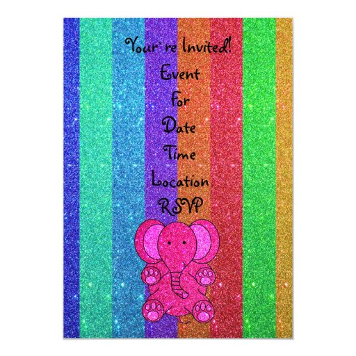 Pink glitter elephant with rainbow stripes personalized announcement