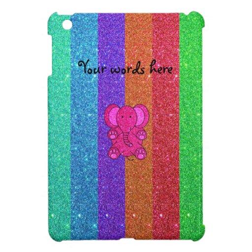 Pink glitter elephant with rainbow stripes iPad mini cover