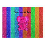 Pink glitter elephant with rainbow stripes postcards