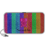 Pink glitter elephant with rainbow stripes iPhone speakers