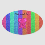 Pink glitter elephant with rainbow stripes oval stickers