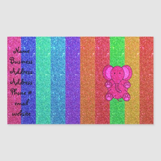 Pink glitter elephant with rainbow stripes rectangle sticker