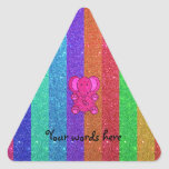 Pink glitter elephant with rainbow stripes triangle stickers