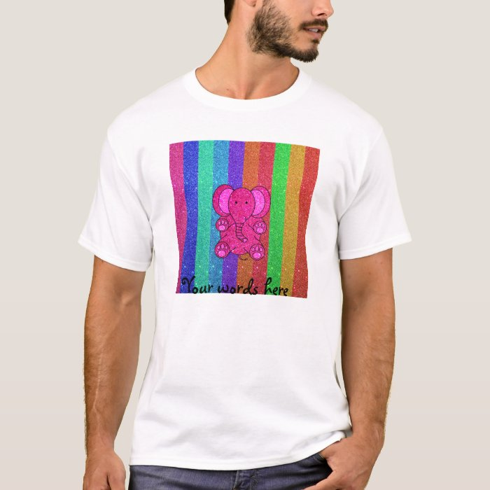 Pink glitter elephant with rainbow stripes T-Shirt