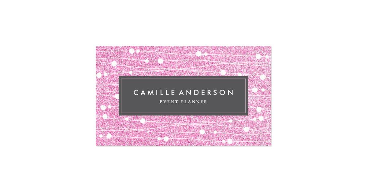 Pink Glitter Event Planner Business Card Template