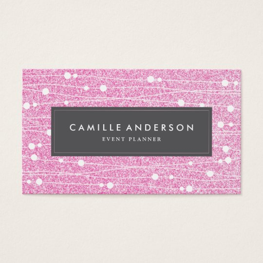 Pink Glitter Event Planner Business Card Template Zazzle