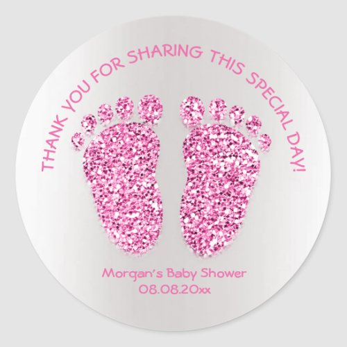 Pink Glitter Feet Baby Shower Favor Thank You Girl Classic Round Sticker