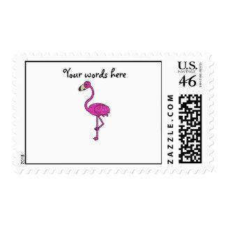 Pink glitter flamingo postage stamp