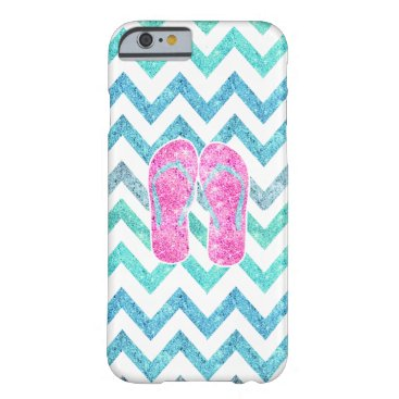 Beach Themed Pink Glitter Flip Flops Teal Aqua Chevron Pattern Barely There iPhone 6 Case