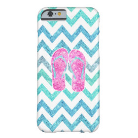 Pink Glitter Flip Flops Teal Aqua Chevron Pattern Barely There iPhone 6 Case