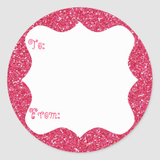 Pink Glitter Gift Tag Stickers