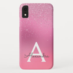 Pink Glitter Girly Sparkle Glitter Monogram iPhone XR Case