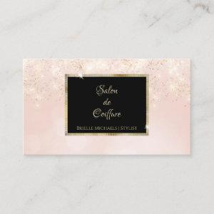 Pink Glitter Glam Elegant Black and Gold Salon Business Card