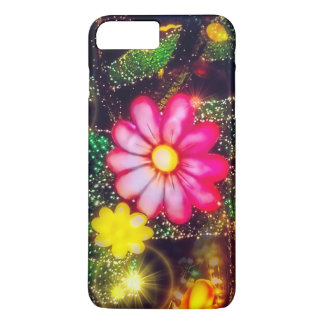 Pink Glitter Glow Retro Flowers Neon Lights iPhone 7 Plus Case