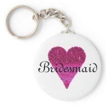 Pink Glitter Heart Personalized Bridesmaid Keychain