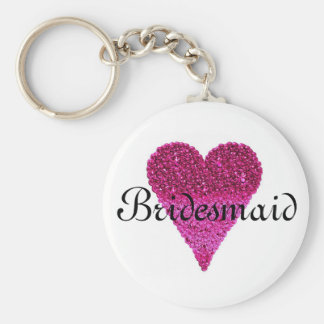 Pink Glitter Heart Personalized Bridesmaid Keychain